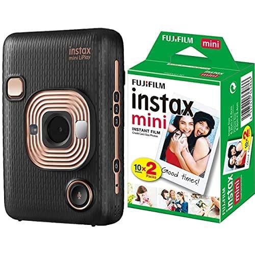 Fujifilm instax mini LiPlay Elegant Black Fotocamera Ibrida Istantanea e Digitale (2560 x 1920) & instax mini Film, Pellicola istantanea per fotocamere instax mini, Confezione da 20 foto