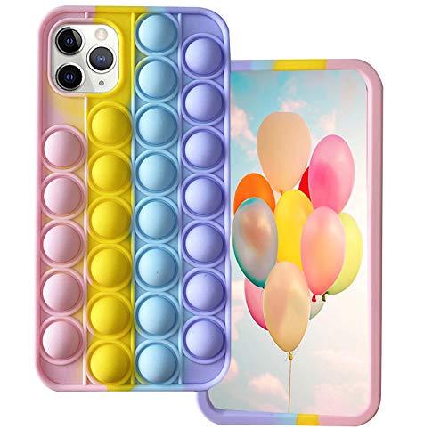 Ffish Funda para iPhone Xs Max (6.5''), push pop Bubble Fidget alivio del estrés y antiansiedad cubierta + soporte para teléfono celular, Arcoíris