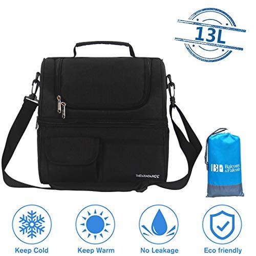 Doppelschicht Kühltasche, Wasserdicht Picknicktasche mit Picknick-Decke, Mittagessen Isoliertasche Lunch Tasche, Auslaufsicher Kühlkorb,Black-13L