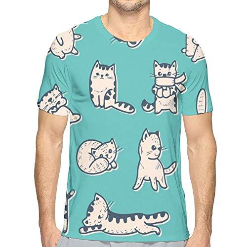 Mens T-shirt, schattige kitties in verschillende gestures Sleeping Playful Babyish Cat Animal Illustratie