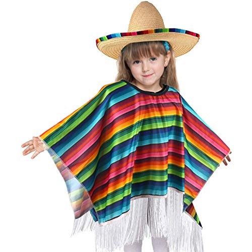 BigOtters Halloween Poncho Costume for Kids, Cinco De Mayo Mexican Fiesta Ponchos Party Colorful Striped Cosplay for Kids Toddler and Child Halloween Favor