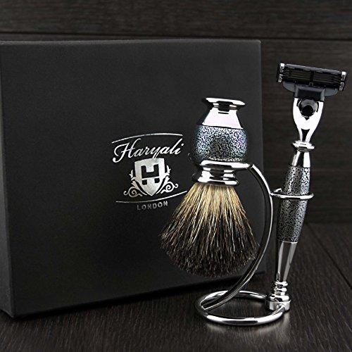 Haryali London 3 Edge Rasiermesser, Rasierpinsel für schwarzen Dachs und Rasierständer-Perfekt Rasierset für Männer