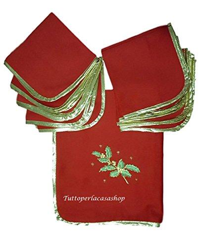 Tovaglia di Natale servizio per 12 persone con tovaglioli Confestyl cm 150x250 in scatola