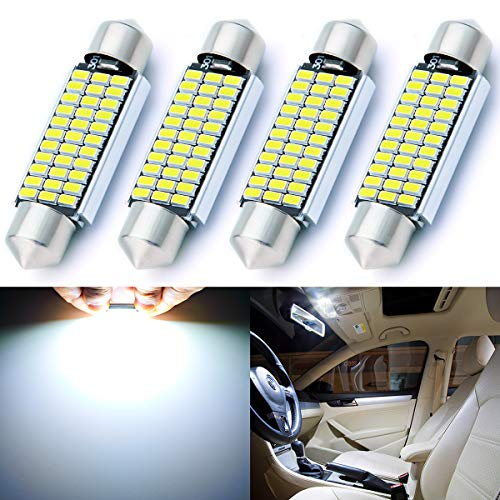 """AUTOGINE 4pcs CAN-Bus Error Free 211-2 212-2 569 578 LED Bulbs Festoon 41MM / 42MM 1.72"""" Xenon White 3014 33-EX Chipsets for Car Interior Dome Map Door Courtesy License Plate Lights"""