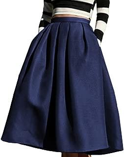 Women's High Waisted A line Skirt Skater Pleated Full Midi Skirt