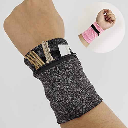 Shoplifemore Muñequera de bolsillo Billeteras de deporte con cremallera Muñequeras para guardar tarjetas de llaves, bolsa de almacenamiento de bádminton Pulsera de baloncesto (gris)