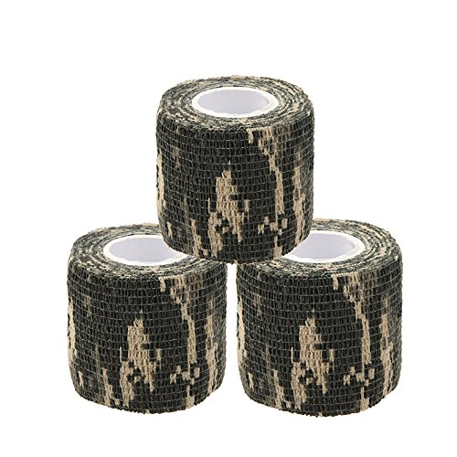 Uning Self-adhesive Protective Camouflage Tape Wrap 5CM x 4.5M Tactical Camo Form Multi-functional Non-woven Fabric Stealth Tape Stretch Bandage for Outdoor Military Hunting (Pack of 3) (Camouflage 3)