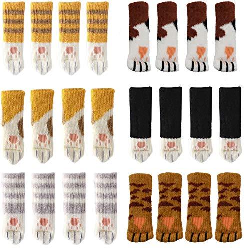Yolococa 24 Socken für Stühle Möbel Zubehör Katzenpfoten Süß Anti Scratch Anti Noise Stuhlbein Bezüge Bodenschutz 24er-Pack(6 Sätze)