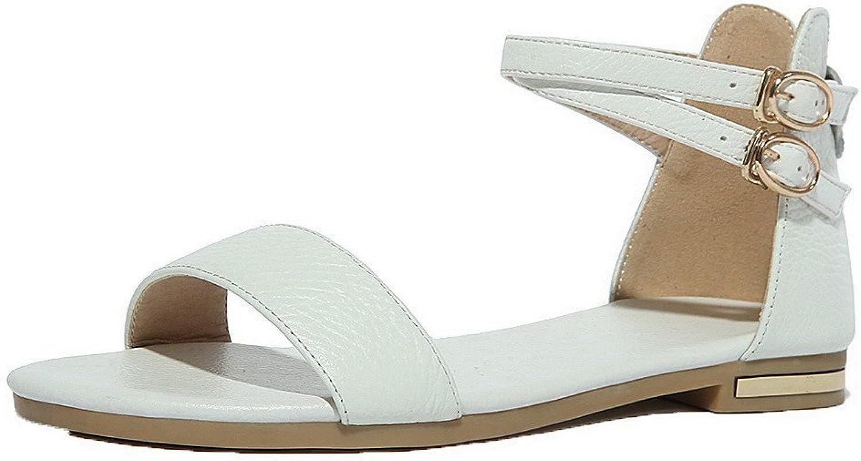 WeiPoot Women's Open Toe Low-Heels Pu Solid Sandals, EGHLH004758