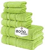 Eono by Amazon, Toallas de SPA y Hotel Juego de Toallas de 6 Piezas, 2 Toallas de baño, 2 Toallas de Mano y 2 toallitas(Verde Lima)
