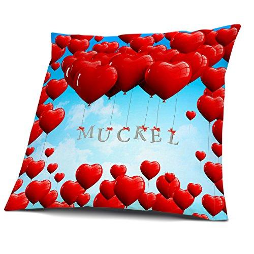 Kissen mit Füllung, Motiv Herzballons mit Name Muckel, vollflächig bedruckt 30 x 30 cm, Namenskissen, Geschenkidee