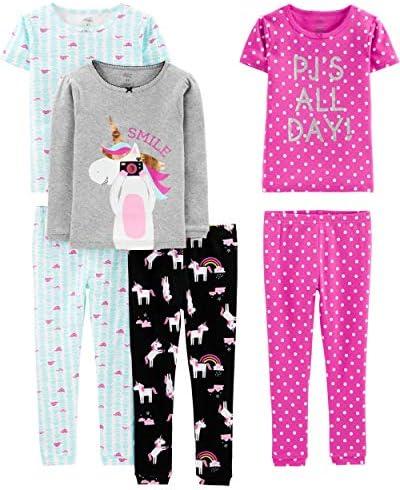 Simple Joys by Carter s Girls Little Kid 6 Piece Snug Fit Cotton Pajama Set Unicorn Dots Turtle product image