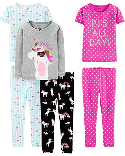 Simple Joys by Carter's Girls' Little Kid 6-Piece Snug Fit Cotton Pajama Set, Unicorn/Dots/Turtle, 6