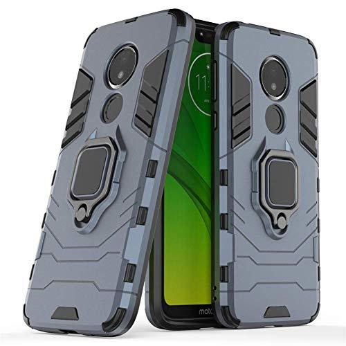 Compatibile con Moto G7 Power Cover, Custodia Armor Anello Cavalletto (Funziona con Il Supporto Magnetico per Auto) Case Paraurti per Motorola Moto G7 Power (Blu Navy)