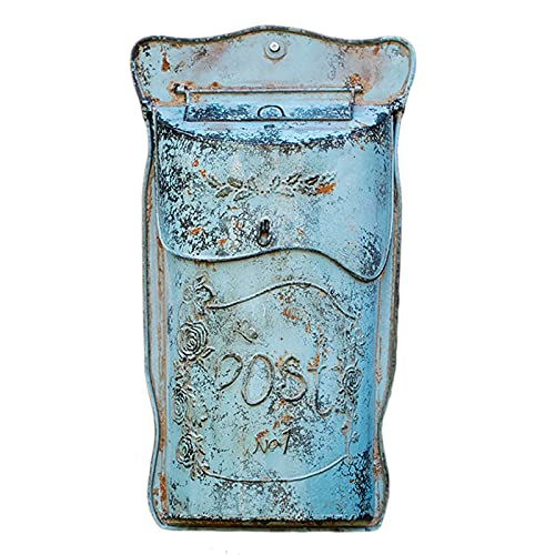 HWF Briefkasten Wandhalterung Rustikal Briefkasten für Draußen - Briefkasten aus Gusseisen im Vintage-Dekor - Bauernhaus Briefkasten Hängend Wall Post Box Aktenhalter, Beunruhigtes Blau