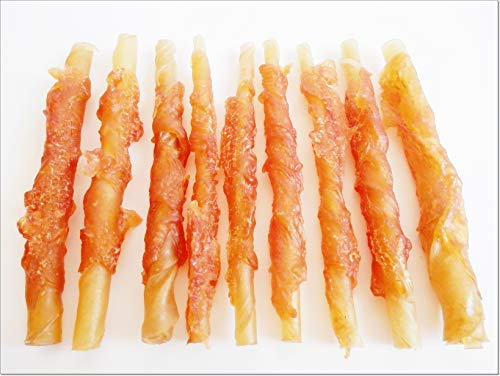 DriedDogTreats 40-50 pieces TWISTED Chicken Rawhide Sticks Wrapped Jerky Beef Twists Dried snacks, chews, training treats, for all dog size! Big Value Pack