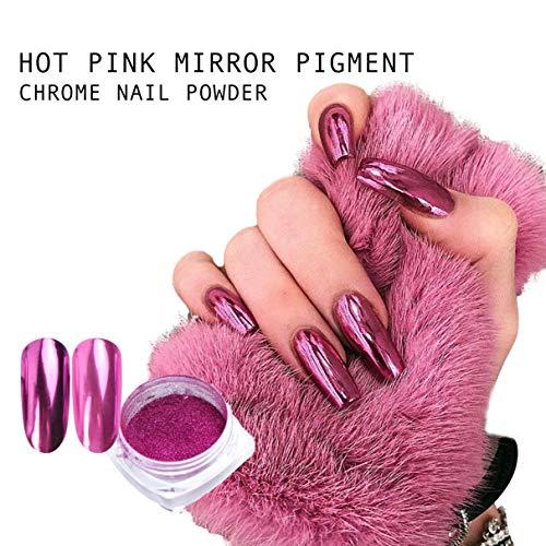 Hot roze chroom spiegel poeder nagel pigment zeemeermin platina glitter kunst decoratie gel acryl