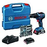 Bosch Professional Sistema 18V Trapano Avvitatore con Percussione GSB 18V-55 incl. batteria 2x2,0 Ah + caricabatterie, 35 pz. Set di accessori Impact, in L-Case, Edizione Amazon