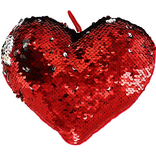 With Love Reversible Sequin Heart Cushion - Assorted