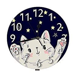 SSOIU Cute Cat Wall Clock,Little Happy Kitten Adorable Animal Kitty Star Silent Non-Ticking Round Wall Clock Battery Operated for Home Office School Decorative Clock Art
