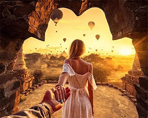 JWFJF Malen Nach Zahlen Erwachsene Türkischer Heißluftballon DIY Handgemalt Ölgemälde Kinder Und Anfänger auf Leinwand Geschenk Zahlen Kits Home Haus Dekor (Ohne Rahmen) 40x50 cm