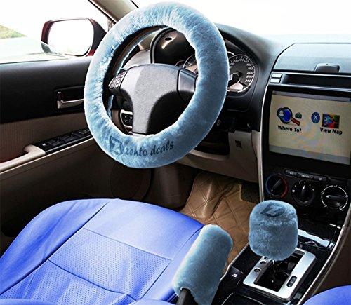 Zento Deals rutschfeste Kfz-Lenkrad Feststellbremse Gear Shift Plüsch Cover–Blau