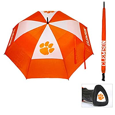 """Team Golf NCAA Clemson Tigers 62"""" Golf Umbrella with Protective Sheath, Double Canopy Wind Protection Design, Auto Open Button"""