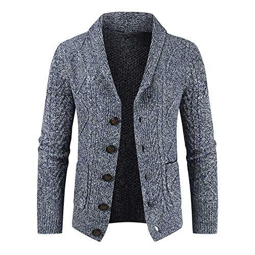 NOBRAND 2020 Herren-Pullover, Slim Fit, Strickjacke, Hörner, dicker Pullover, modische Knopfleiste M marineblau