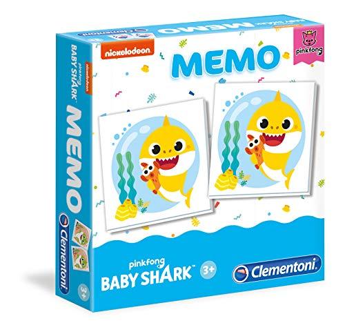 Clementoni - 18101 - Memo Games - Baby Shark, Gedächtnis- und Vereinungsspiel Kinder 3 Jahre Brettspiel - Made in Italy