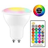 Tioodre GU10 RVB Ampoule LED multicolore avec télécommande, Spot à lumière changeante de couleur avec télécommande pour barre intérieure KTV Décoratif (8W Blanc chaud)