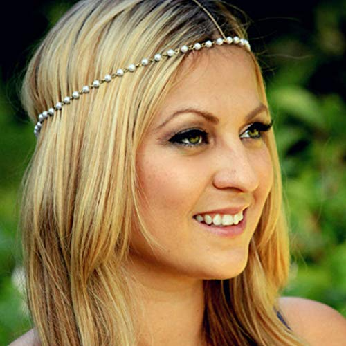 Crysly Boho Head Chain Gold Pearl Festival Headpiece Indian Prom Headband Jewelry for Women and Girls