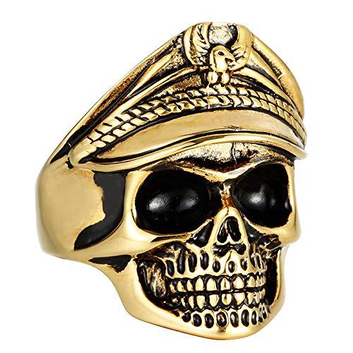 Männer Skull Ring Undead Legion Ring Goldenen Doppeladler Viking Punkring Legion Männlich,A,13