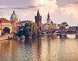 DIY Pintar por Números para Niños Y Principiante Y Adultos,Impresión del puente y el río de la ciudad de Praga,Regalo Pintura al óleo Conjunto de Kit Lienzo Decor,20' x 16'