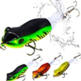 XFISHMAN Topwater-Bass Fishing-Lures 3.5in Bait Floating Rotating Tail Frog Poppers Lure for Bass Pike