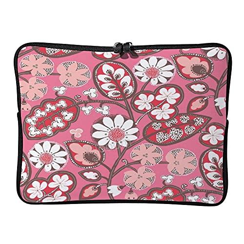 Yilooom - Custodia per computer portatile da 10', in neoprene, per notebook e tablet, con motivo floreale, colore: rosa