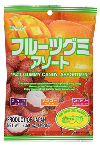 Lychee, Mango, Strawberry: Kasugai Fruit Gummy Candy (Japanese Import) [JU-ICNI]