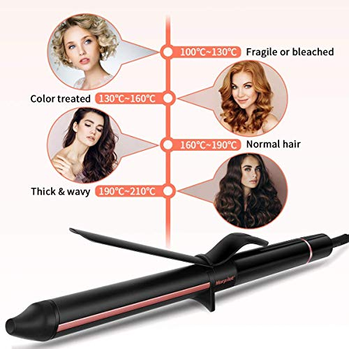 Hair Curler, Morpilot Professional Hair Curling Iron with Tourmaline Ceramic Coating, Quick Heat, 7 Heat Settings, 360 ° Cable and LCD Display, with Glove (Rose Gold)