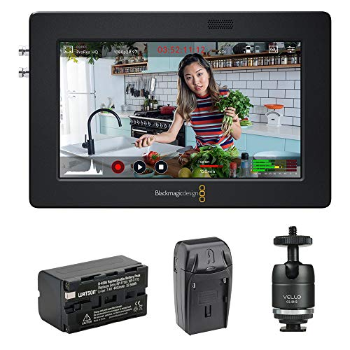 Blackmagic Design Video Assist 3G-SDI/HDMI 5' Recorder/Monitor with Li-Ion Battery Pack, AC/DC Charger & Ball Head Bundle