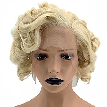 Anogol Hair Cap+Short Curly Synthetic Blonde Lace Front Wig Hair Replacement Wigs For Women Daily Hairstyles