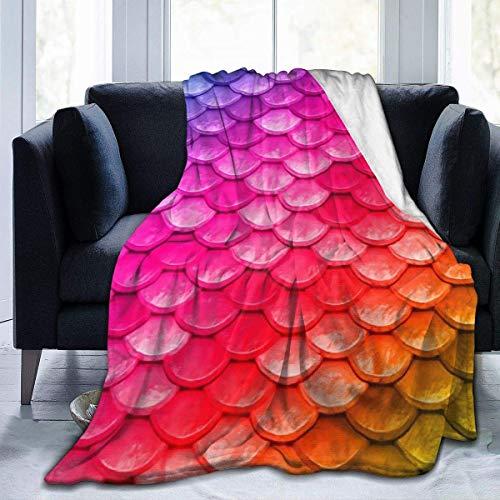 Hoswee Gosiga filtar, överkast ultramjuk mikrofleecefilt grön sjöjungfru skalad filt varm filt mjuk fleecefilt för soffa resestol – alla årstider premium säng filt 152 x 127 cm