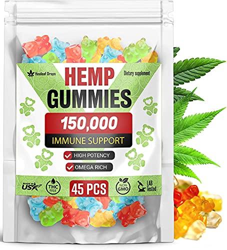 Premium Hemp Gummies 150,000 High Potency – Full Spectrum CO2 Hemp Oil Bears for Maximum Strength – Improve Sleep, Mood, Reduce Inflammation – Efficient for Pain Relief & Joint Mobility