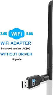 QGOO WiFi Adapter ac600Mbps,Wireless USB Adapter 2.4GHz/5.8GHz Dual Band 802.11 ac Network LAN Card for Desktop Laptop PC Support Windows 10/8.1/8/7/XP/Vista/Mac OS10.6-10.13 (Without Drive)
