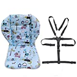 Twoworld Baby High Chair Seat Cushion Liner Mat Pad Cover Resistant and High Chair Straps (5 Point Harness) 1 Suit (Blue Animal)