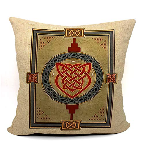 Mancheng-zi Celtic Knot Throw Pillow Case, Kells Celtic Decor, Celtic Gift, Wedding Gift, Housewarming Gift, Celtic Art, 18 x 18 Inch Linen Kells Celtic Art Cushion Cover for Sofa Couch Bed 02