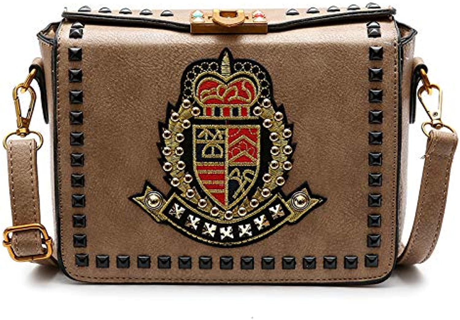 AI BAO Women's Vintage Embroidered Cross Body Bag Shield Small Party Bag Wild Fashion Personalized Shoulder Bag