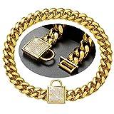 ZZOHAA Collier pour chien en or 18 carats avec boucle diamantée Largeur 14 mm Chaîne cubaine en acier inoxydable pour chiens de petite, moyenne et grande taille 45 cm Doré