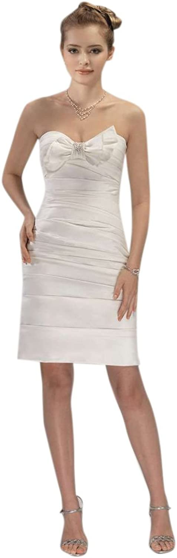 Dearta Women's Sheath Column Sweetheart Short Mini Satin Wedding Dresses