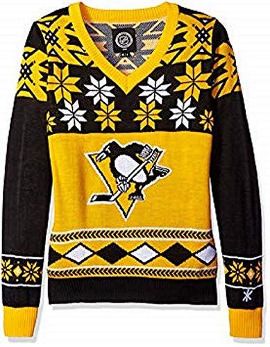 NHL Pittsburgh Penguins Unisex NHL Big Logo Ugly Crew Neck Sweater, Large