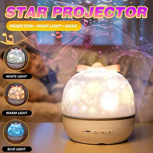 YQHWLKJ Lámpara de proyección de estrella romántica Led 360 ° Rotación de música Luz de noche Estrellas Universo Luna Océano Lámpara de decoración con 6 juegos de película