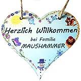 Türschild mit Familienname/Herzform/Motiv 4 Jahreszeiten/Herzlich Willkommen bei Familie IHR FAMILIENNAME
